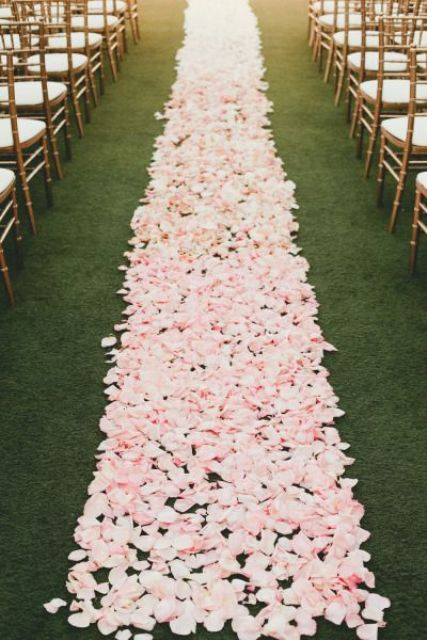 pink petal aisle is very romantic and cute