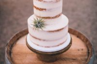 33 semi frosted wedding cake with a copper topper and a small air plant