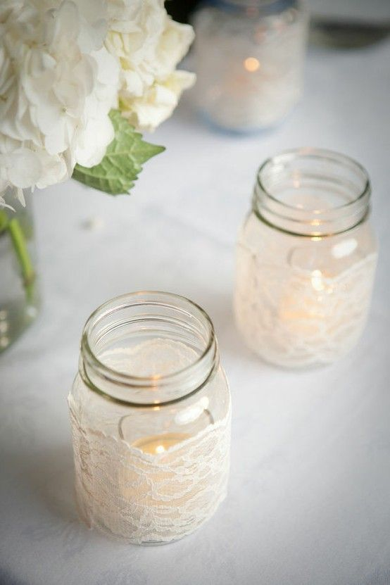 Mason Jar Wedding Centerpieces 28 Vintage lace wrapped candle holders