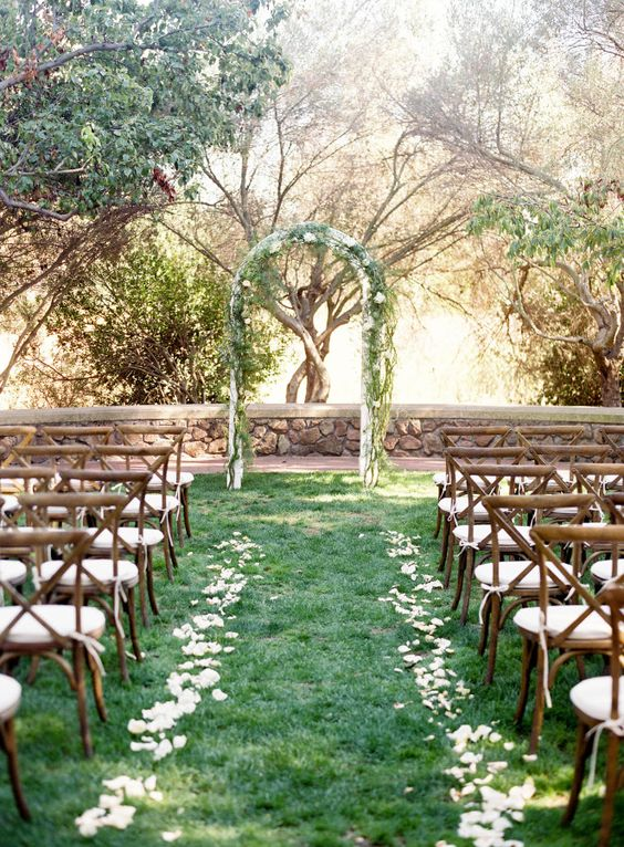 some white petals and ribbons may be enough for a fresh wedding aisle