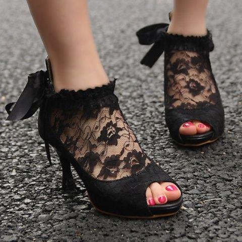 vintage-inspired black peep toe lace booties
