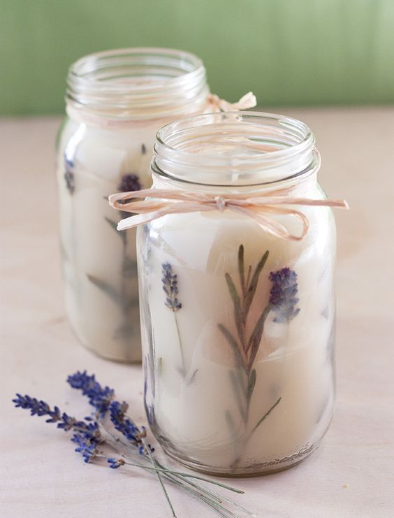 lavender candles in mason jars