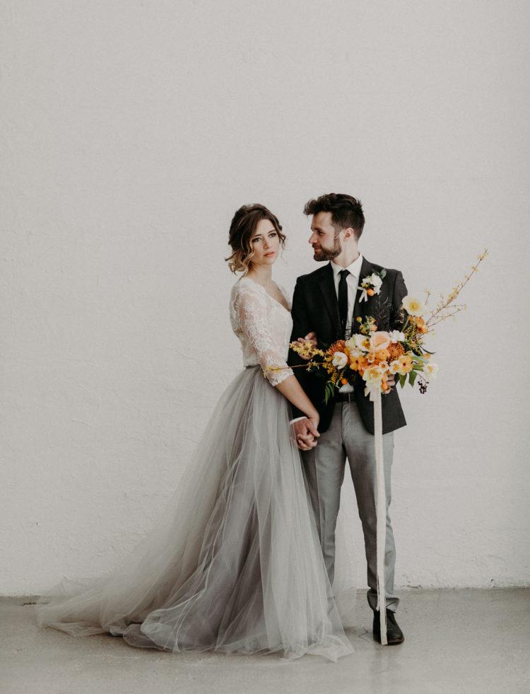 Moody Modern Wedding Shoot With Orange Touches