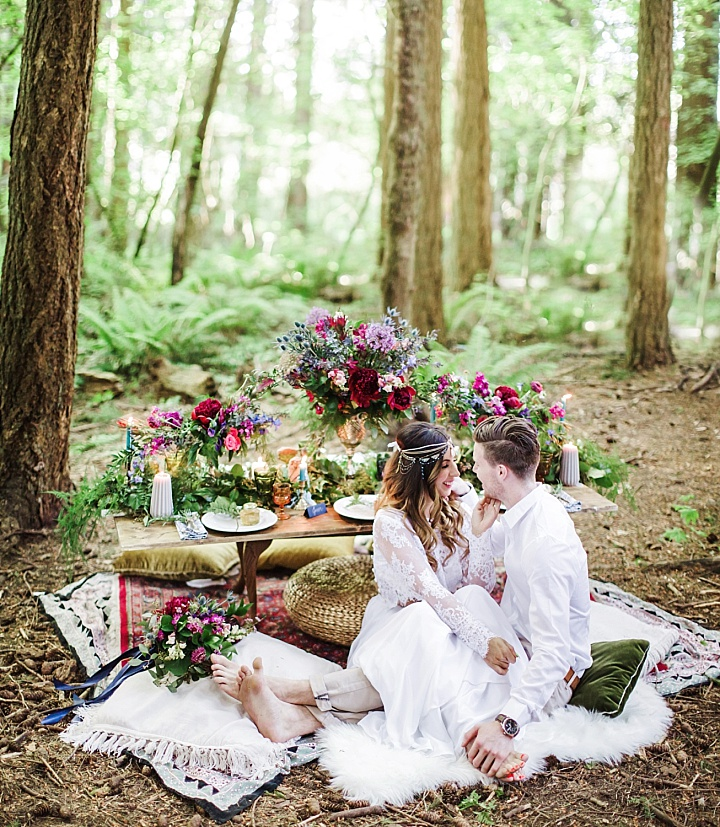 This boho chic wedding shoot took place in the woodlands and on the beach, and the couple is a real one