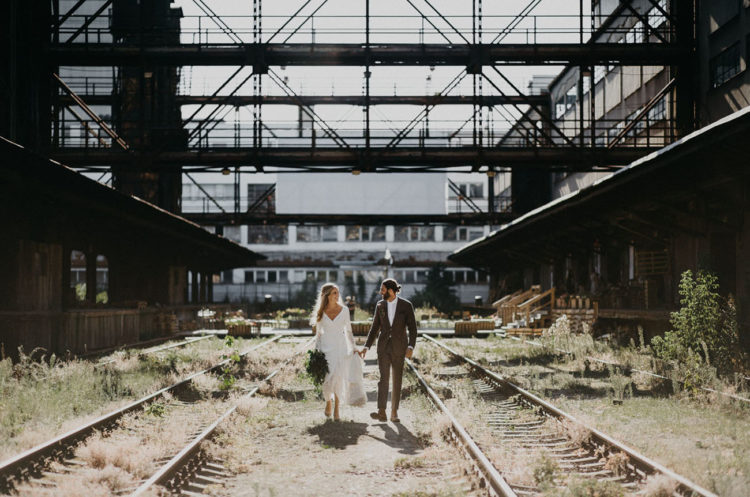 Boho Industrial Wedding At An Abandoned Train Station