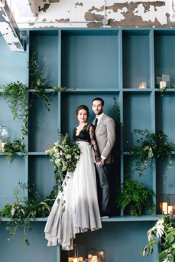 Urban Industrial Wedding Shoot With Lots Of Greenery