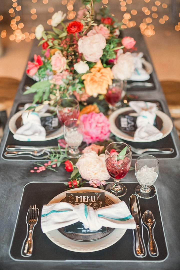 Chalkboard Wedding Shoot With Colorful Florals