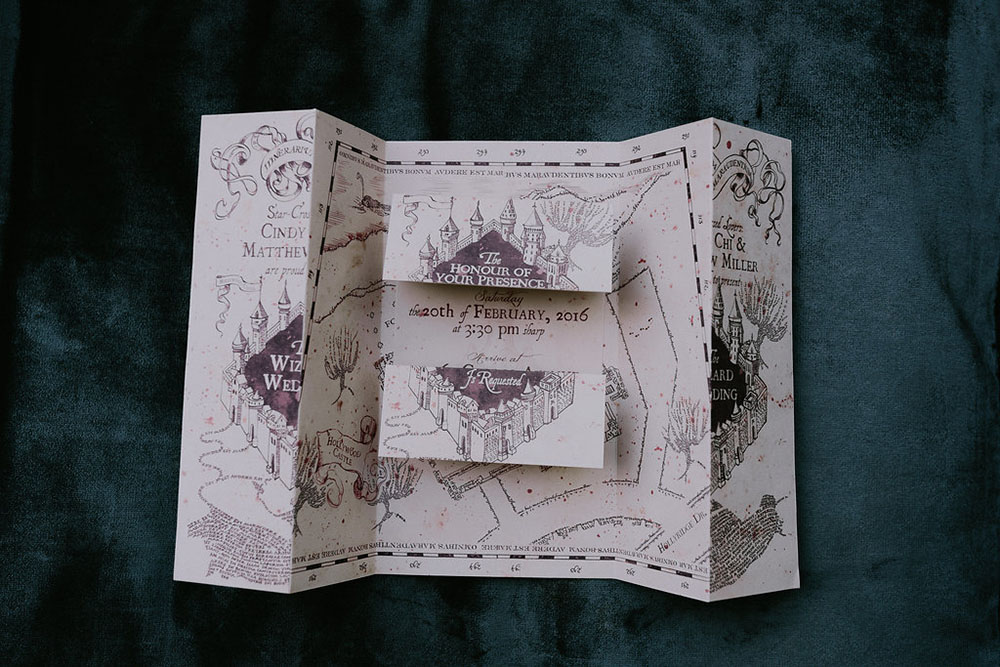 The Marauder's Map invitation was created by Owl Post Calligraphy