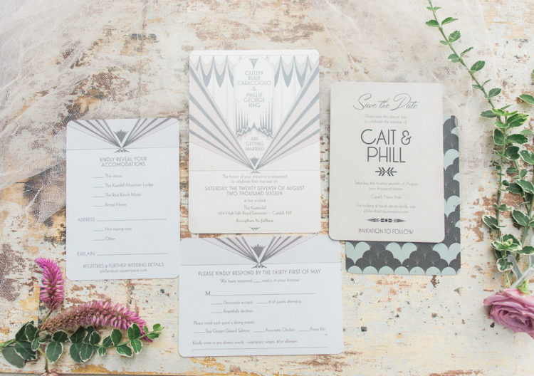 The art deco wedding invites with cool prints