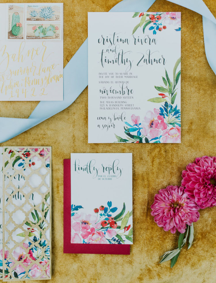 The wedding invitation suite was colorful and vibrant, so cool