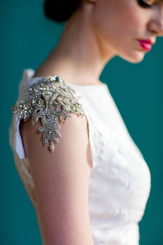 gold lace heavily beaded cap sleeves are enough to accentuate a plain modern dress