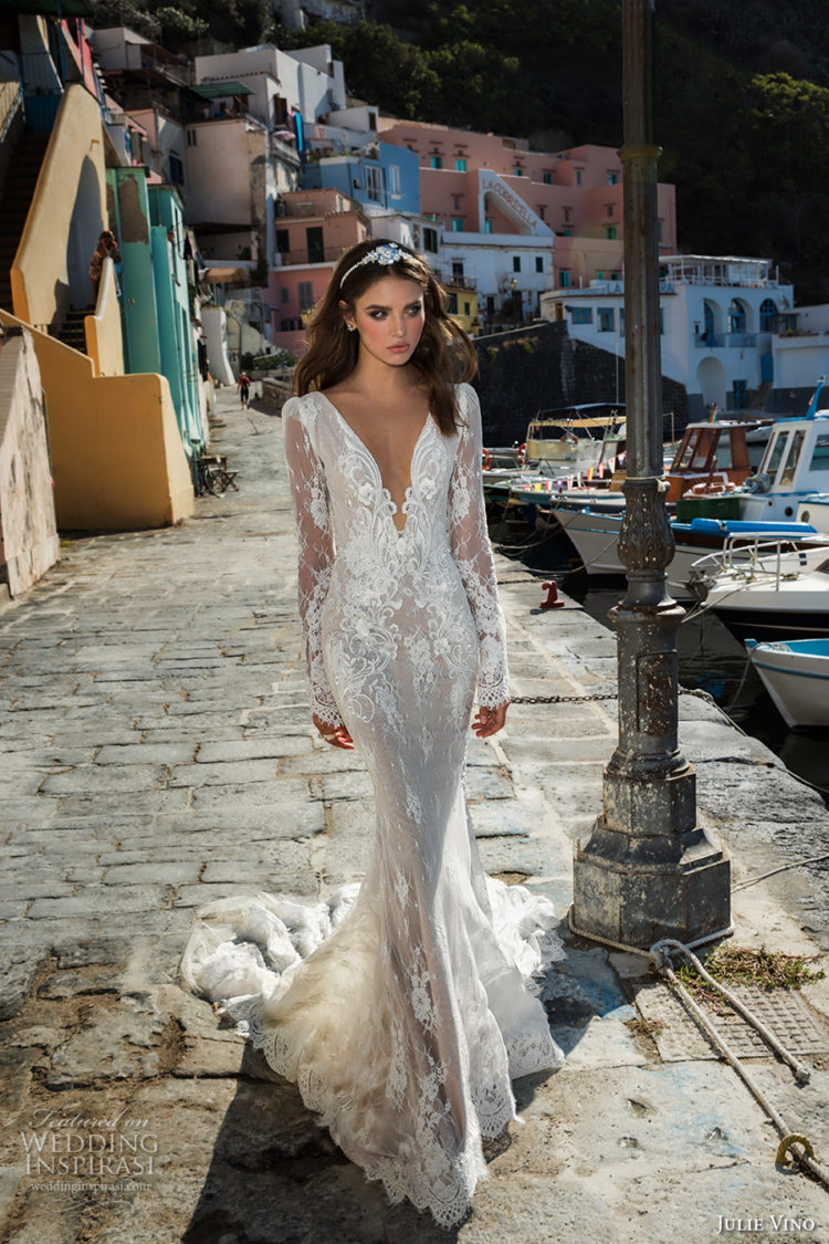 plunging neckline long sleeves wedding dress with floral and leaf appliques, a train