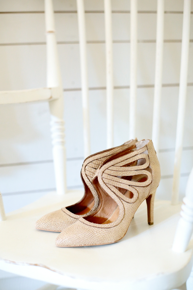 Gorgeous beige wedding shoes with a textural look