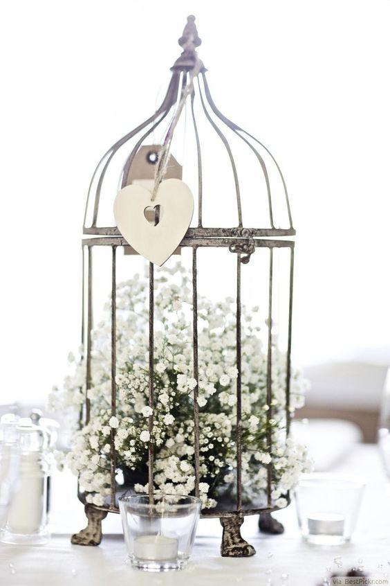 a vintage bird cage with baby's breath