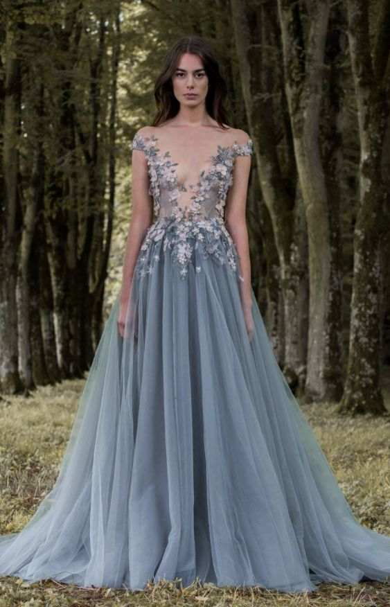 blue grey illusion bodice wedding dress with blue and blush floral appliques