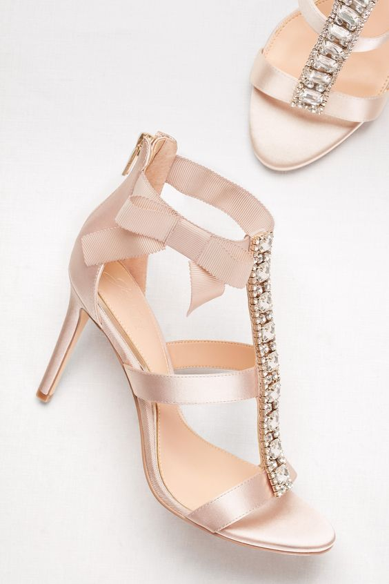 blush T strap embellished wedding shoes with a bow