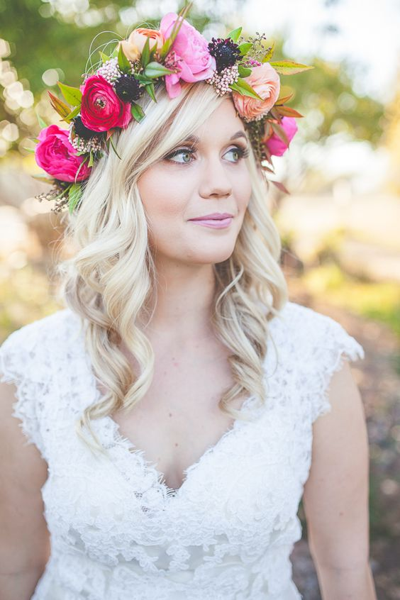 colorful crown with pink, fuchsia and deep purple flowers for a boho bride