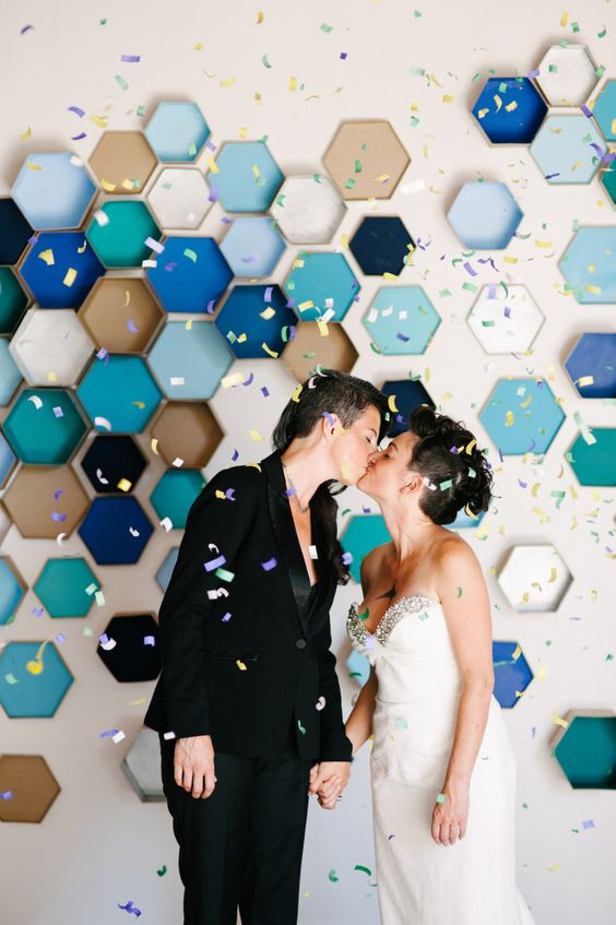 modern colorful paper hexagon backdrop can be a cute DIY project