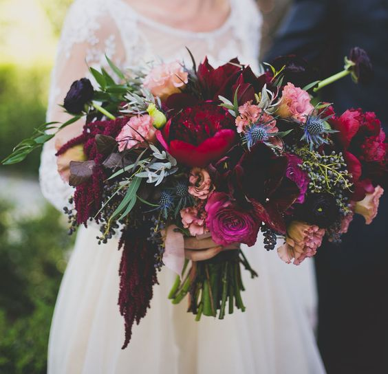 fuchsia, red and very dark burgundy blooms for a statement bouquet