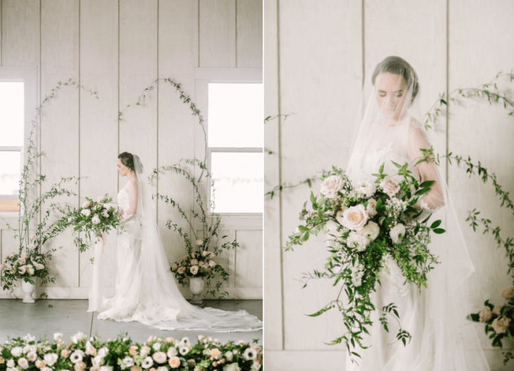 The lush textural bridal bouquet echoed with the rest of the florals