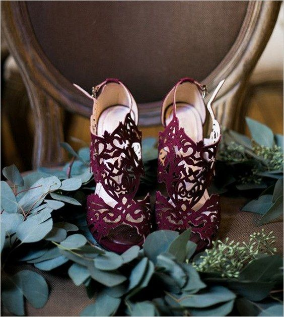 burgundy laser cut wedding shoes on high heels