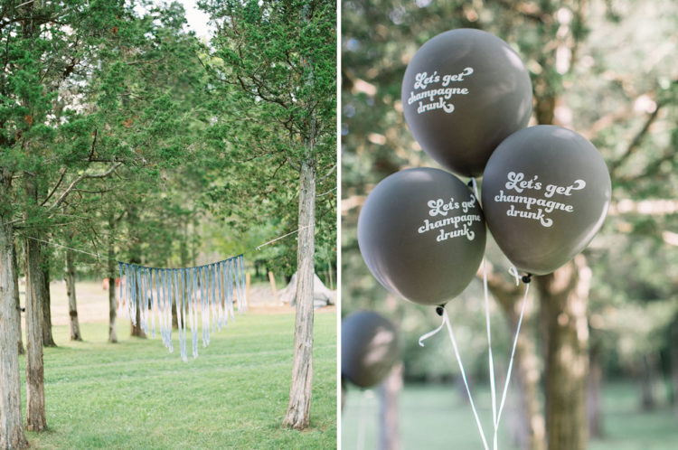 Ombré macramé + balloons with cheeky phrases