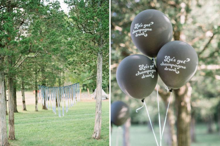 Ombré macramé + balloons with cheeky phrases