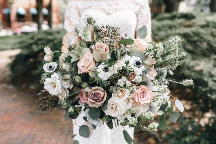 The wedding bouquet was textural, pale green, white and blush - pure elegance as it is