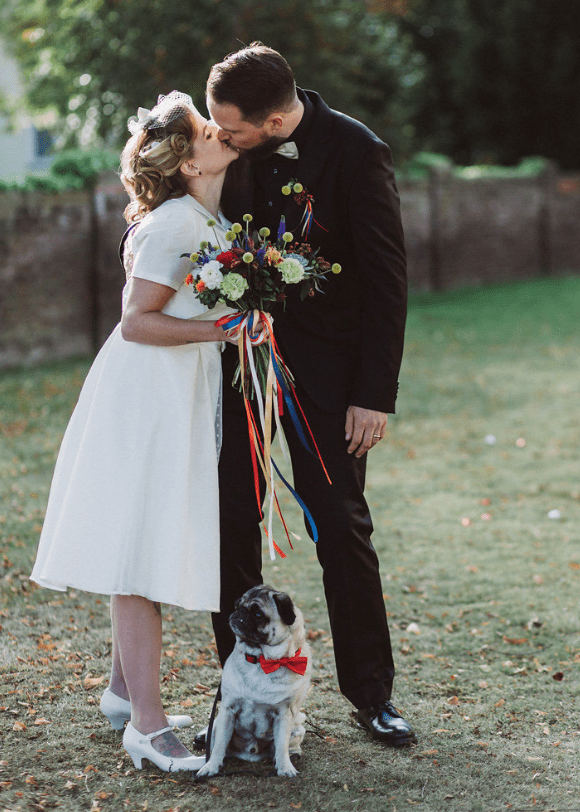 Their pup also took part in the wedding and it was wearing a red bow tie