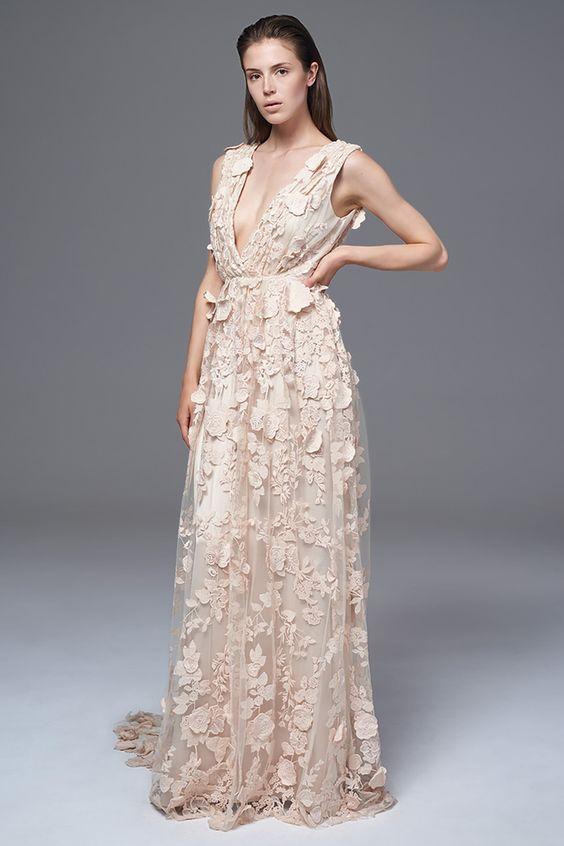 blush plunging neckline wedding dress with floral appliques