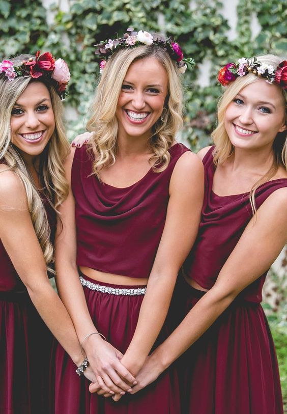 brugundy draped two piece bridesmaids' gowns