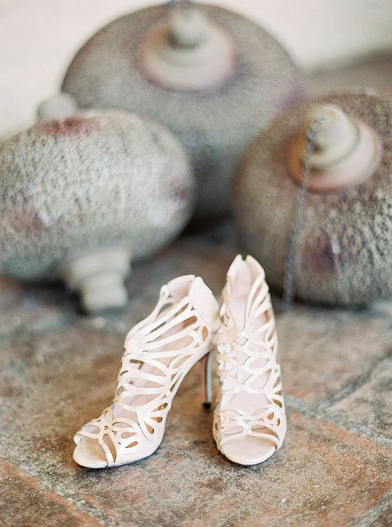 cream colored wedding heels with laser cut detailing