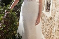 05 spaghetti strap lace wedding dress with a sheer bodice looks very sexy