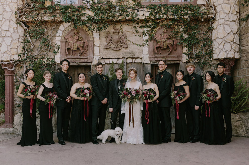 The groomsmen were also dressed in black fitting the groom's look