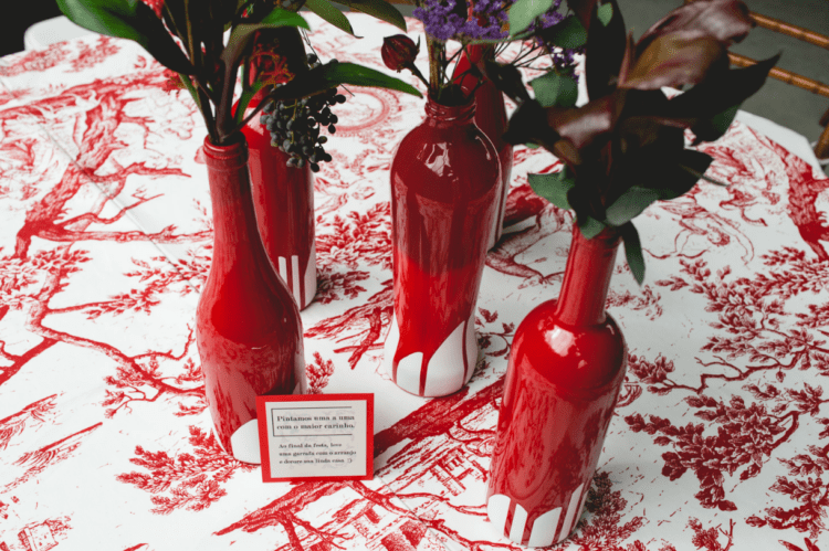 The tablecloths reminded of the wedding dress lining, and look at these amazing bottle vases