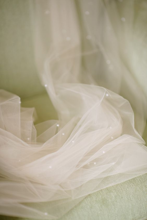 champagne wedding veil with pearls