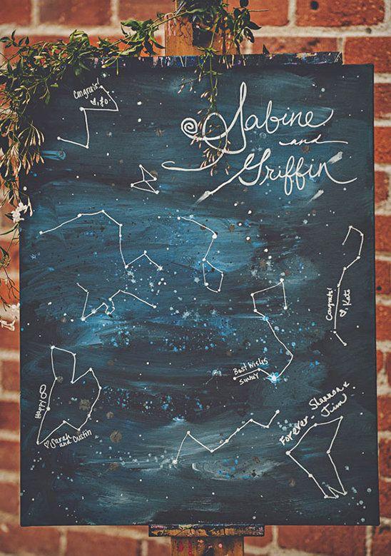 constellation painted canvas as a unique wedding guest book idea