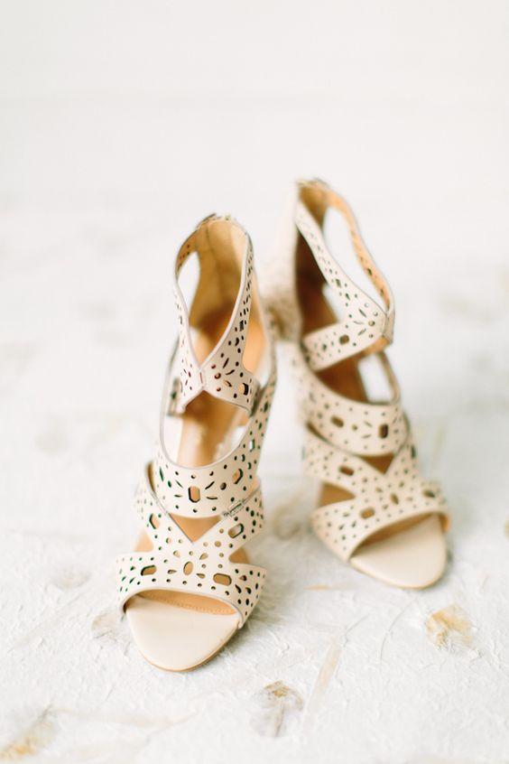 cream-colored laser cut wedding sandals