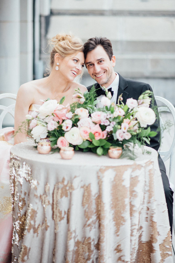 Glam and exquisiteness are everywhere in this shoot, from a sequined tablecloth to the stunning bridal earrings