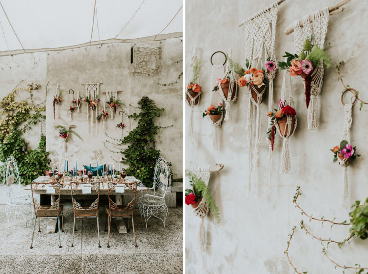 Macrame is one of the hottest trends in wedding decor, so you can see it here