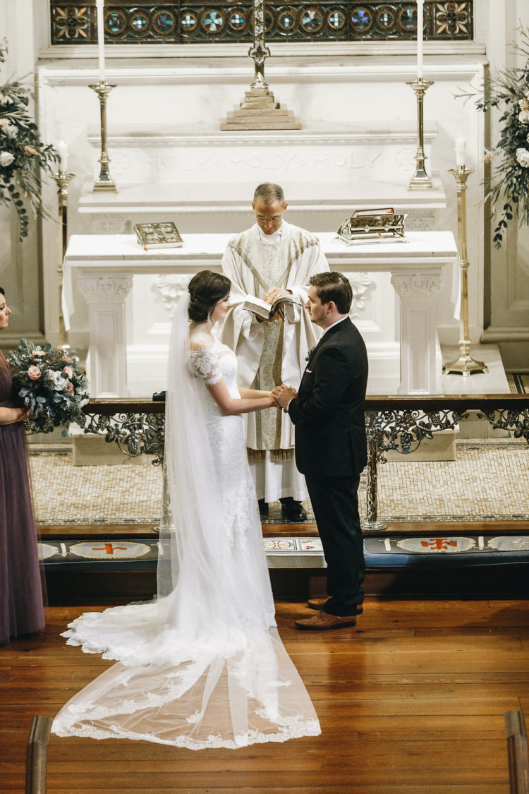 The ceremony was formal, in the most beautiful church of Savannah