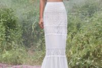 07 chic boho-inspired geometric separate with cap sleeves and a mermaid skirt