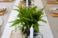 07 fern in vases and small greenery terrariums for simple and fresh table decor