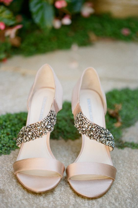 neutral heeled wedding sandals with heavily jeweled stripes