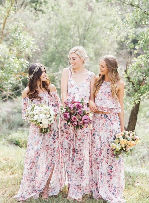 pink and purple floral print mix and match bridesmaids' separates