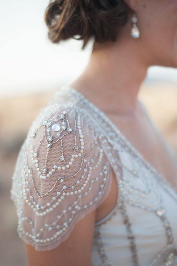 tulle cap sleeve with beading and pearls