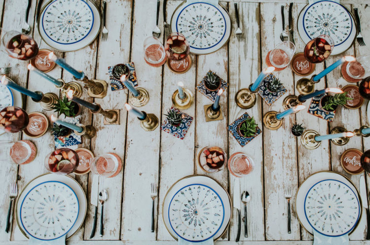 Enjoy the tablescape with copper and teal touches