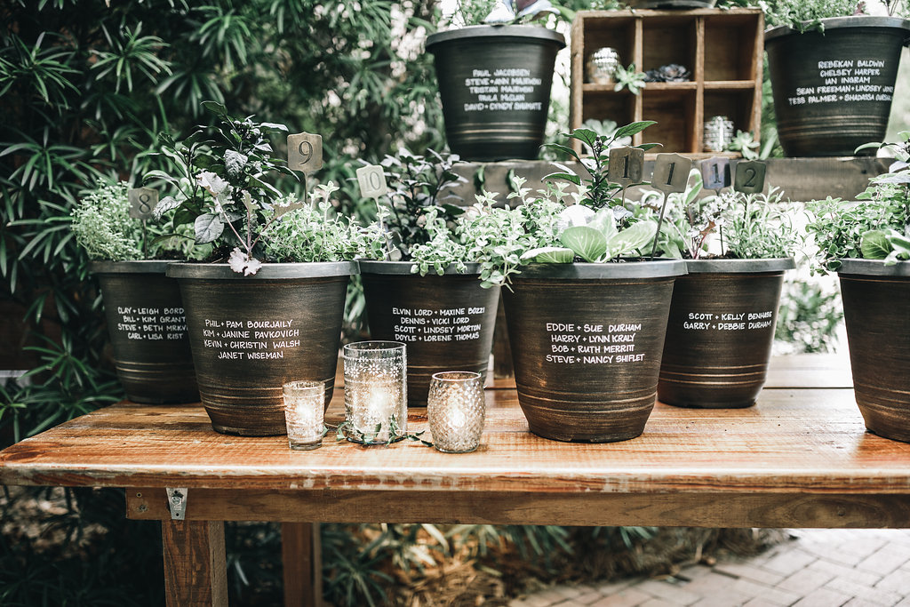 There were many herbs, and pots with them were used as a seating chart