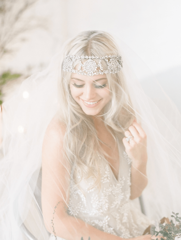 This statement sparkling bead headpiece will catch every eye even under the veil