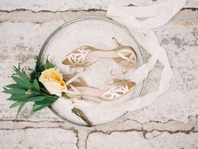 gold laser cut wedding shoes with low heels
